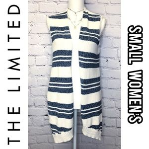 The Limited blue/white striped sleeveless cardigan